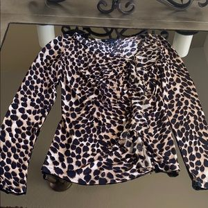 Inc Leopard print top with raffle, S